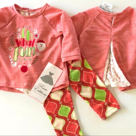 Rare Editions Girls Corduroy Christmas Tree Holiday Jumper Dress 2 Pc Set